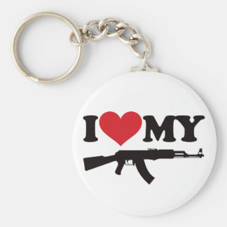I Love My AK47 Basic Round Button Key Ring