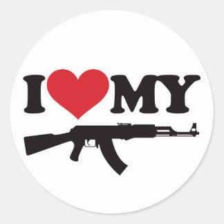 I Love My AK47 Classic Round Sticker