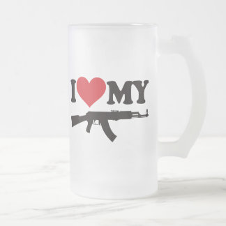 I Love My AK47 Frosted Glass Mug