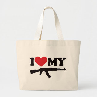 I Love My AK47 Large Tote Bag