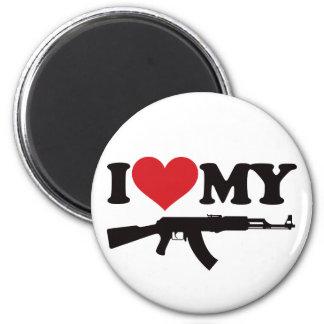 I Love My AK47 6 Cm Round Magnet