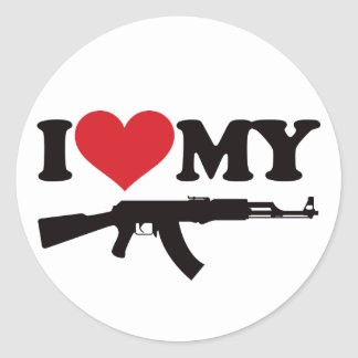 I Love My AK47 Round Sticker