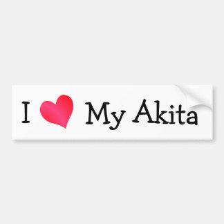 I Love My Akita Bumper Sticker