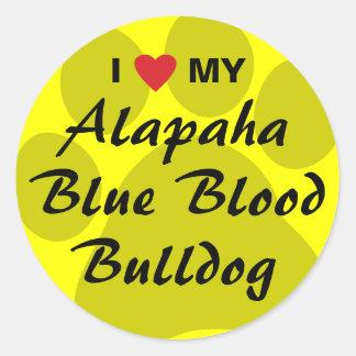 I Love My Alapaha Blue Blood Bulldog Round Sticker