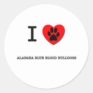 I LOVE MY ALAPAHA BLUE BLOOD BULLDOGS CLASSIC ROUND STICKER