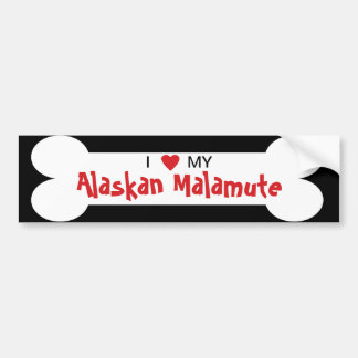 I Love My Alaskan Malamute Dog Breed Bumper Sticker