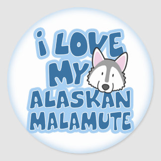 I Love My Alaskan Malamute Stickers
