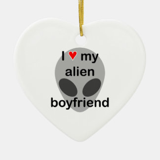 I love my alien boyfriend christmas ornament
