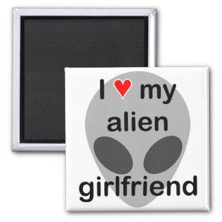 I love my alien girlfriend square magnet
