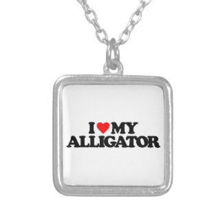 I LOVE MY ALLIGATOR SILVER PLATED NECKLACE