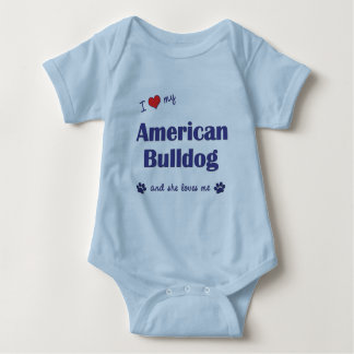 I Love My American Bulldog (Female Dog) Baby Bodysuit