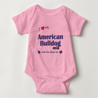 I Love My American Bulldog Mix (Female Dog) Baby Bodysuit