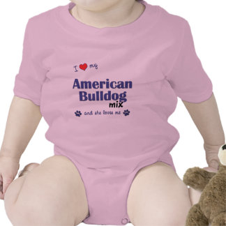I Love My American Bulldog Mix (Female Dog) Bodysuits