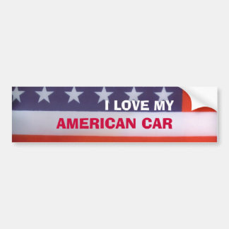 I Love My American Car Flag Bumper Sticker