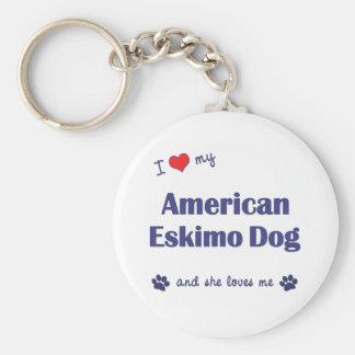 I Love My American Eskimo Dog Female Dog Key Chains