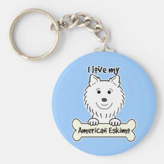 I Love My American Eskimo Dog Keychain