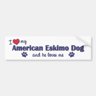 I Love My American Eskimo Dog (Male Dog) Car Bumper Sticker