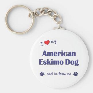 I Love My American Eskimo Dog Male Dog Key Chain