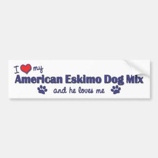 I Love My American Eskimo Dog Mix (Male Dog) Car Bumper Sticker