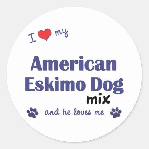 I Love My American Eskimo Dog Mix (Male Dog) Round Sticker