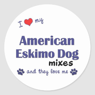 I Love My American Eskimo Dog Mixes (Multi Dogs) Round Sticker