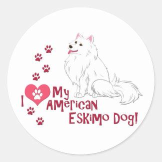 I Love My American Eskimo Dog! Round Sticker