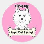 I Love My American Eskimo Dog Round Stickers
