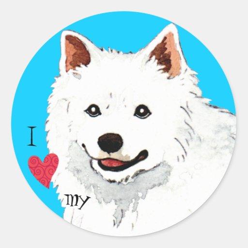 I Love my American Eskimo Dog Round Sticker