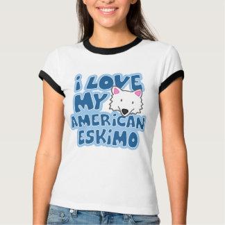 I Love My American Eskimo Ladies Ringer T-Shirt