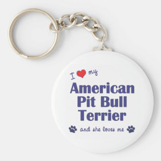 I Love My American Pit Bull Terrier (Female Dog) Basic Round Button Key Ring