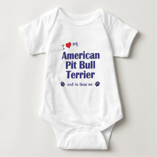 I Love My American Pit Bull Terrier (Male Dog) Baby Bodysuit