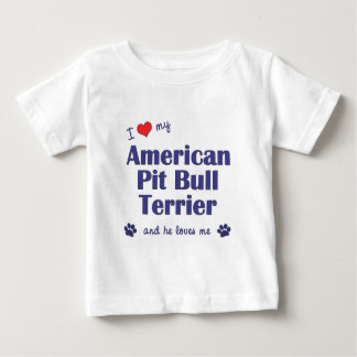 I Love My American Pit Bull Terrier (Male Dog) Baby T-Shirt