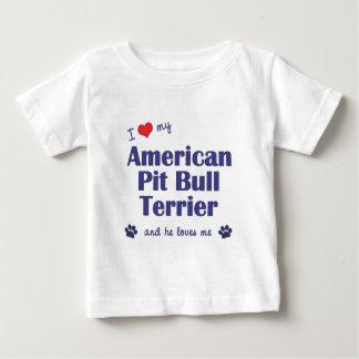 I Love My American Pit Bull Terrier (Male Dog) T Shirt