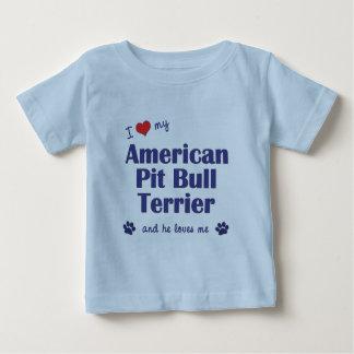 I Love My American Pit Bull Terrier (Male Dog) Tee Shirt