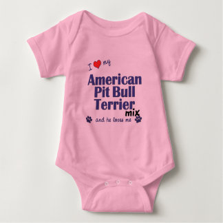 I Love My American Pit Bull Terrier Mix (Male Dog) Baby Bodysuit