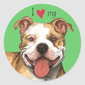 I Love my American Pit Bull Terrier Round Sticker