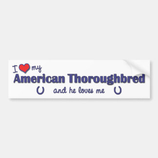 I Love My American Thoroughbred (Male Horse) Bumper Sticker