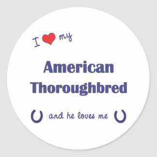 I Love My American Thoroughbred Male Horse Round Stickers