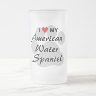 I Love My American Water Spaniel Frosted Glass Mug