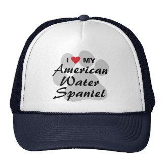 I Love My American Water Spaniel Hats