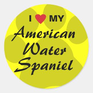 I Love My American Water Spaniel Round Sticker