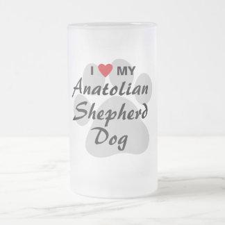 I Love My Anatolian Shepherd Dog Frosted Glass Mug