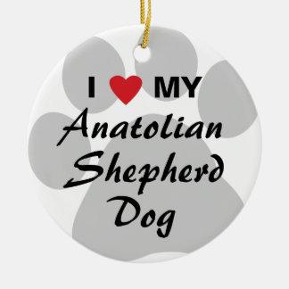I Love My Anatolian Shepherd Dog Round Ceramic Decoration