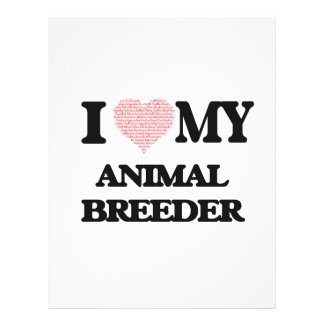 I love my Animal Breeder (Heart Made from Words) 21.5 Cm X 28 Cm Flyer