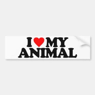 I LOVE MY ANIMAL CAR BUMPER STICKER