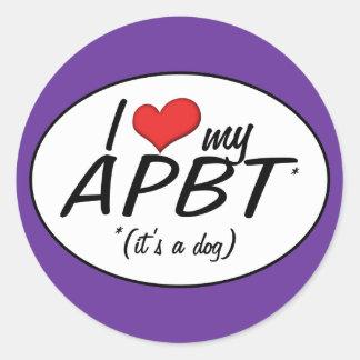 I Love My APBT It s a Dog Round Stickers
