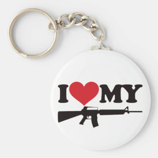 I Love My AR15 Basic Round Button Key Ring