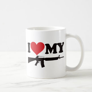 I Love My AR15 Basic White Mug