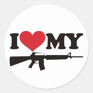I Love My AR15 Round Sticker