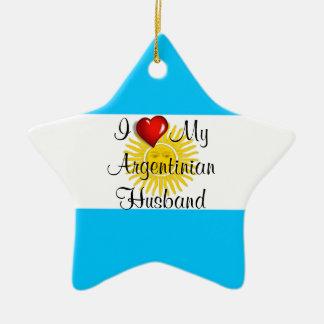 I Love My Argentinian Husband Christmas Ornament